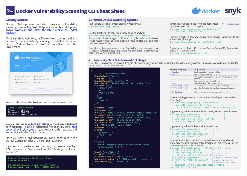 Docker container security cheat sheet