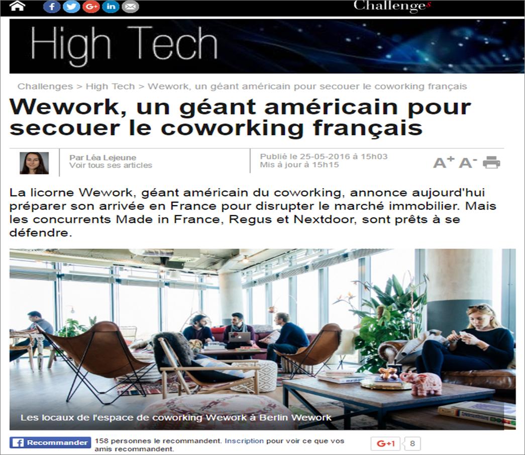 Wework, un géant américain pour secouer le coworking français