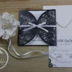 Black & White Lasercut Wedding Invitation