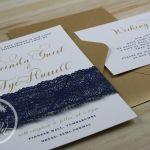 Gold, Navy & White Wedding Invitation