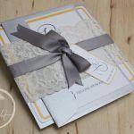 Silver & Yellow, Lace Vintage Wedding Invitation
