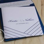 Navy Blue & Silver Stripes Wedding Invitation