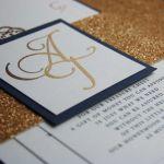 Navy Blue & Gold Foil/Glitter Wedding Invite
