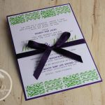 Violet & Lime Green Modern Wedding Invitation