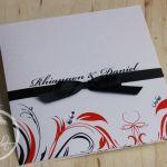 Red & Black Swirly Pattern Engagement Invitation