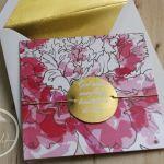 Floral Pink & Gold Modern Wedding Invitation
