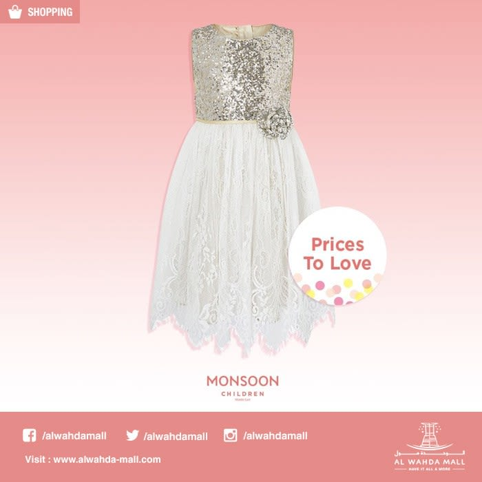 42abf8377 Exciting lower price dresses at Monsoon Children! Visit store now, and shop  the gorgeous collection.#monsoonmiddleeast #AlWahdaMall تمتعي بأسعار فساتين  ...