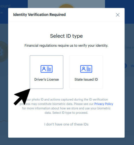 Identify Drivers License Coinbase
