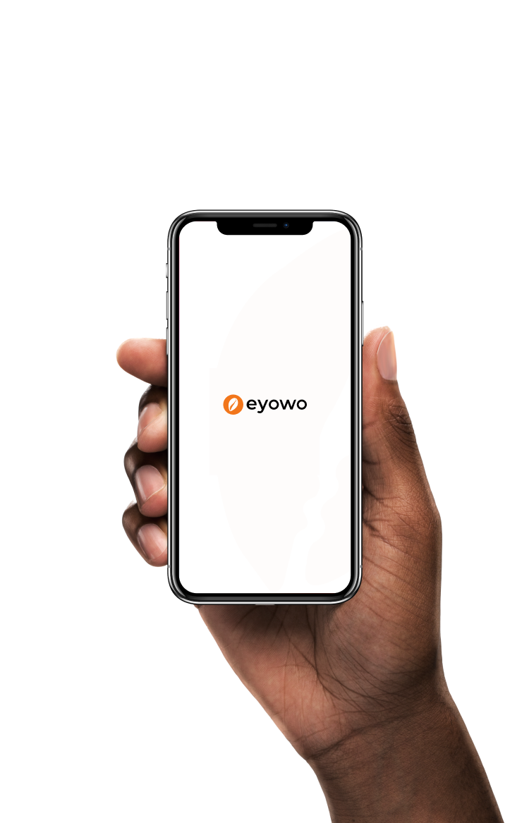 A hand holding the eyowo app