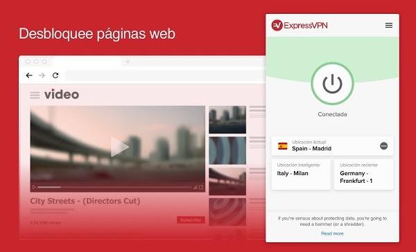 Interfaz de ExpressVPN