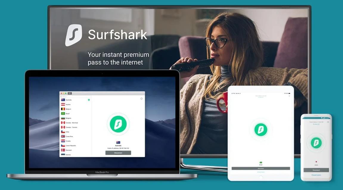 Interfaz de Surfshark VPN