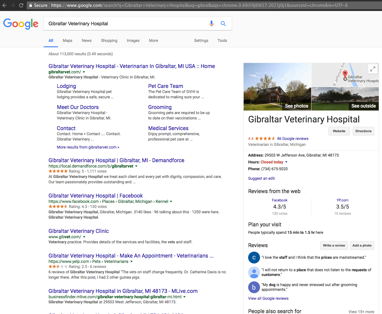 Business Reviews Across Sites Example