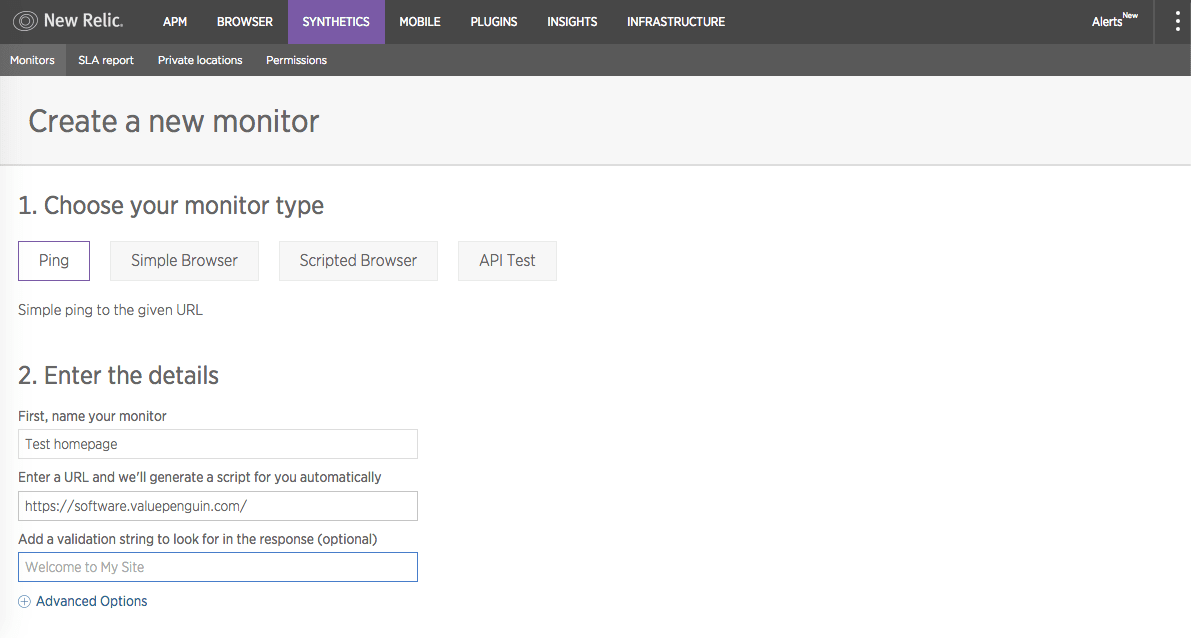 New Relic Synthetics monitor step 1