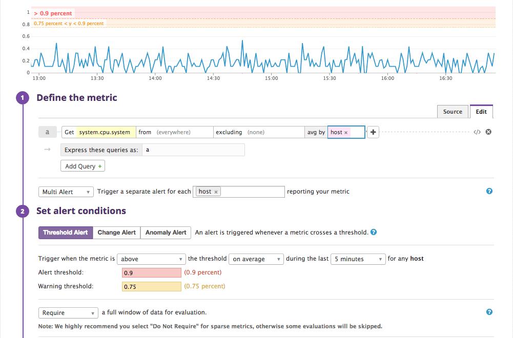 creating a monitor in Datadog
