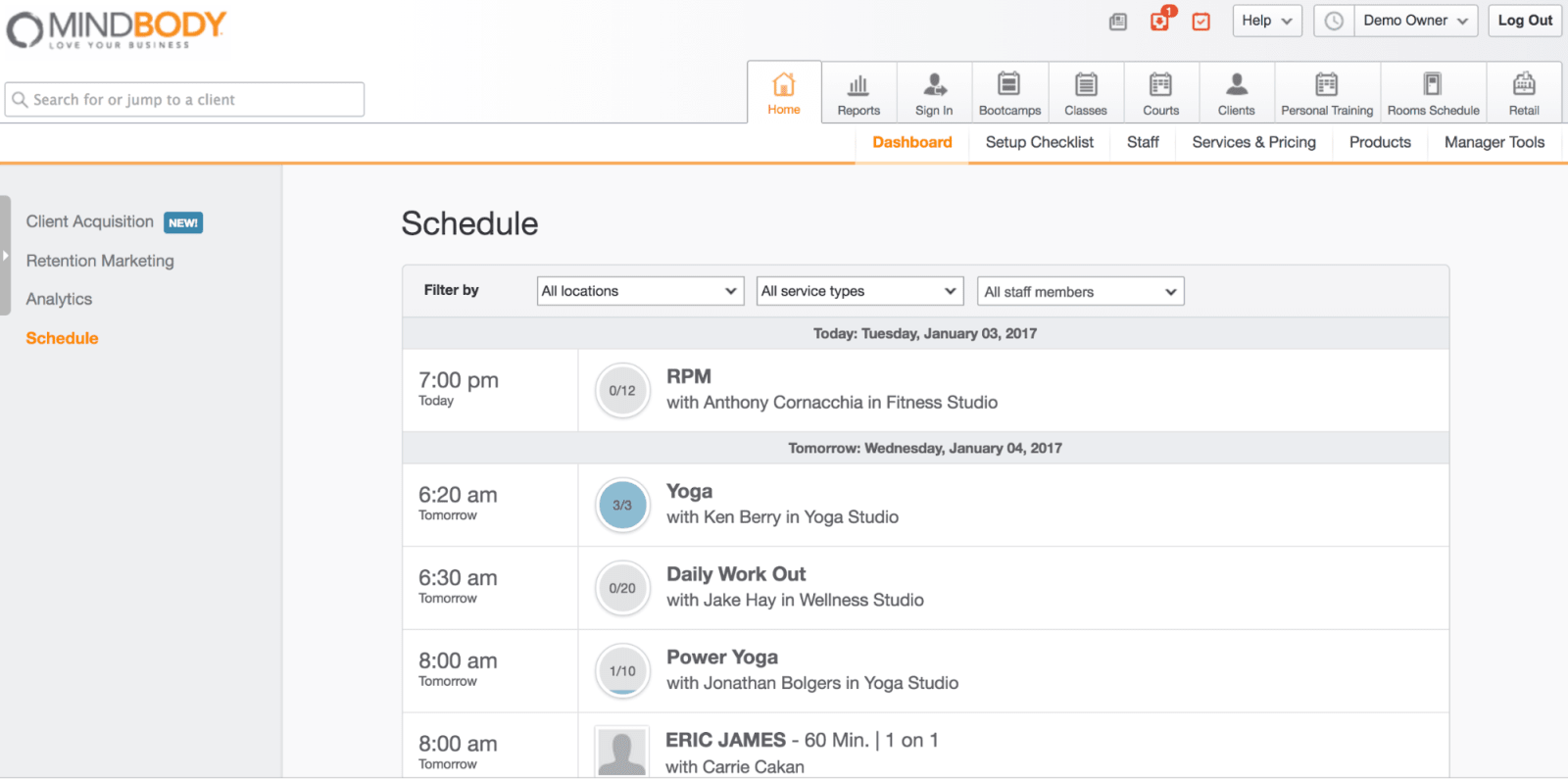 MINDBODY Schedule Dashboard