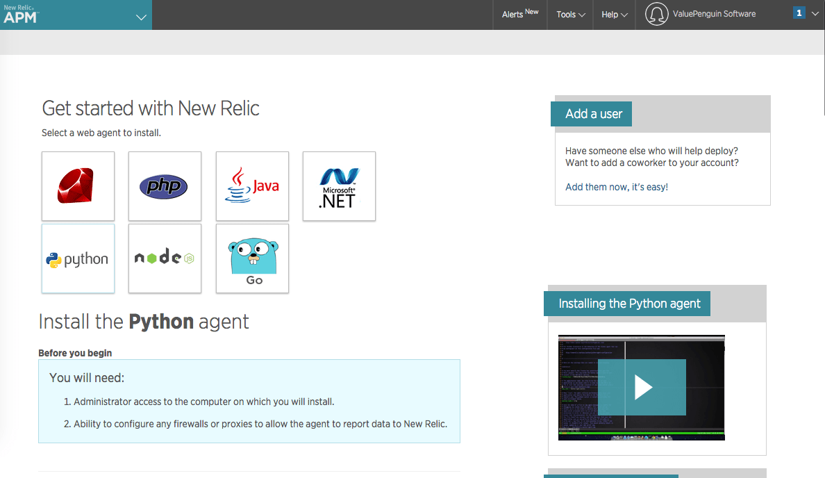 install python agent in New Relic APM