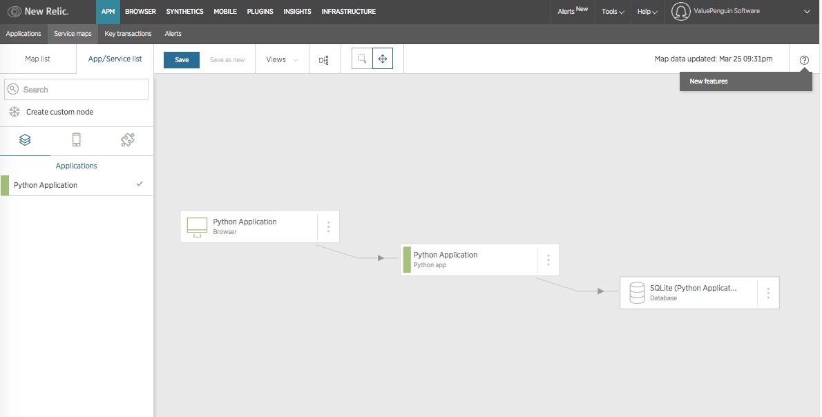 service map for python app in New Relic APM