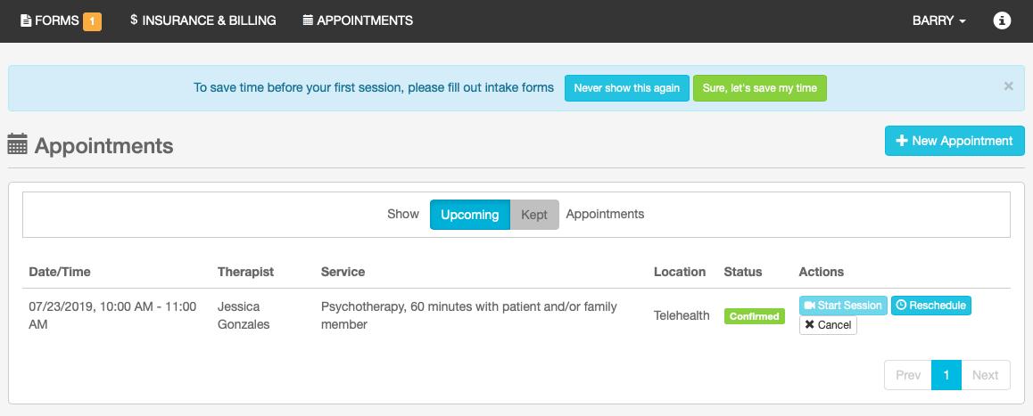 TheraNest Patient Portal