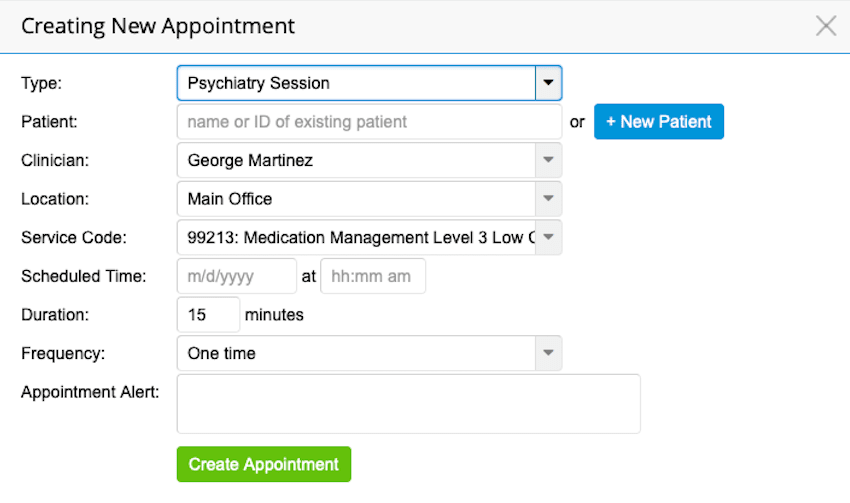 TherapyNotes Appointments