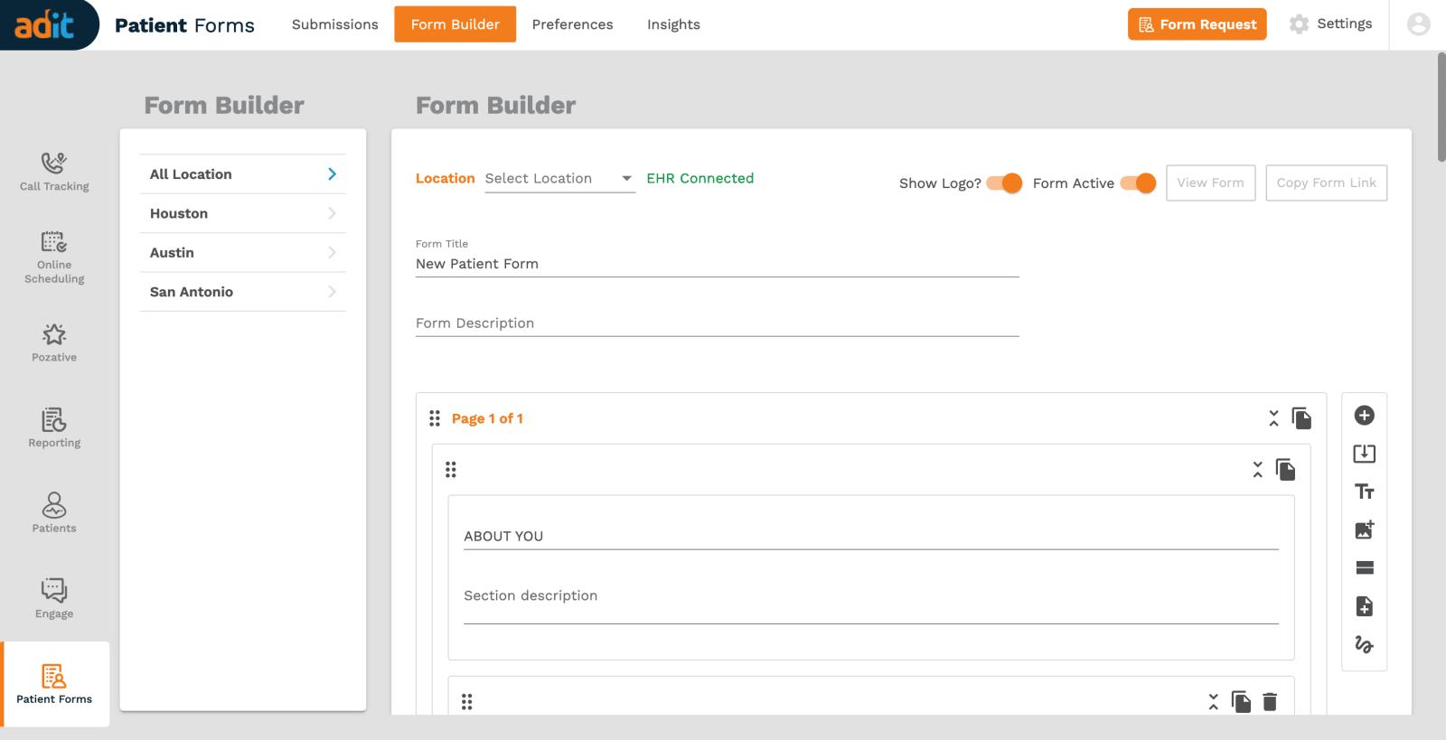 Adit Patient Form Builder