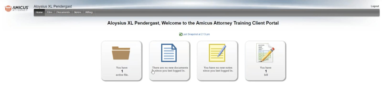 amicus attorney client portal image
