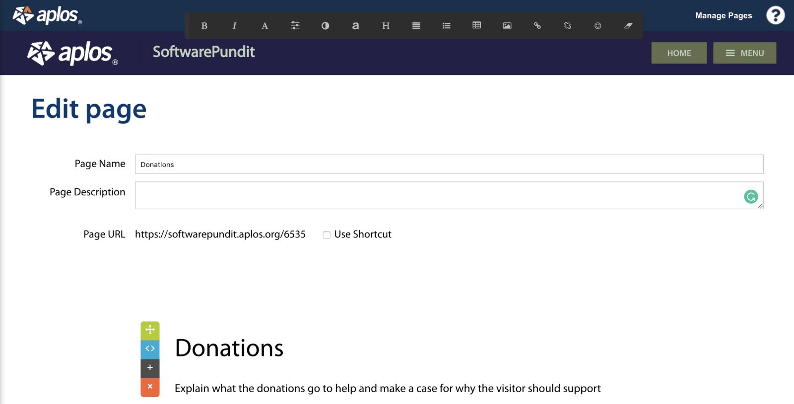 aplos website builder