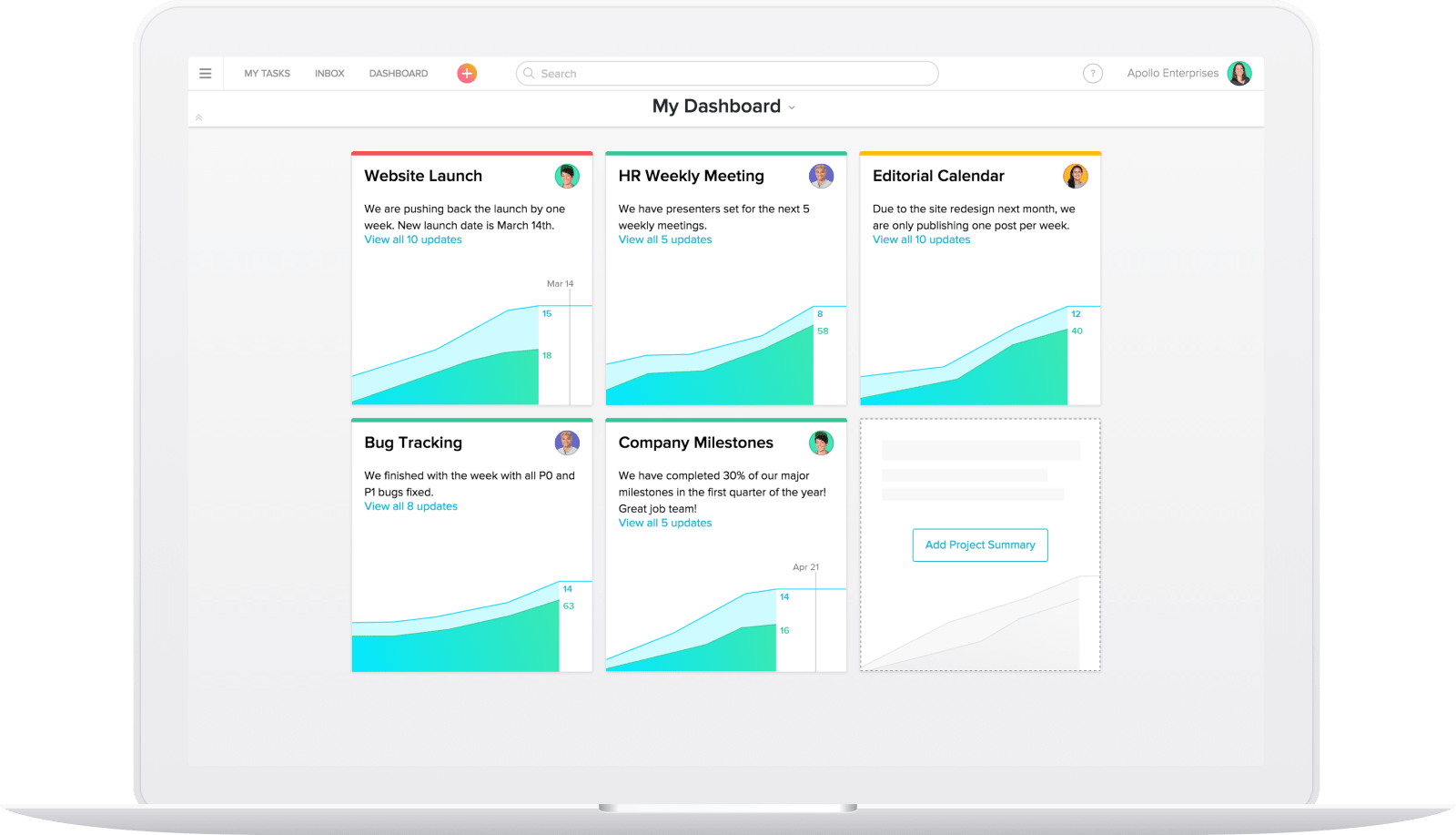 Asana review dashboards