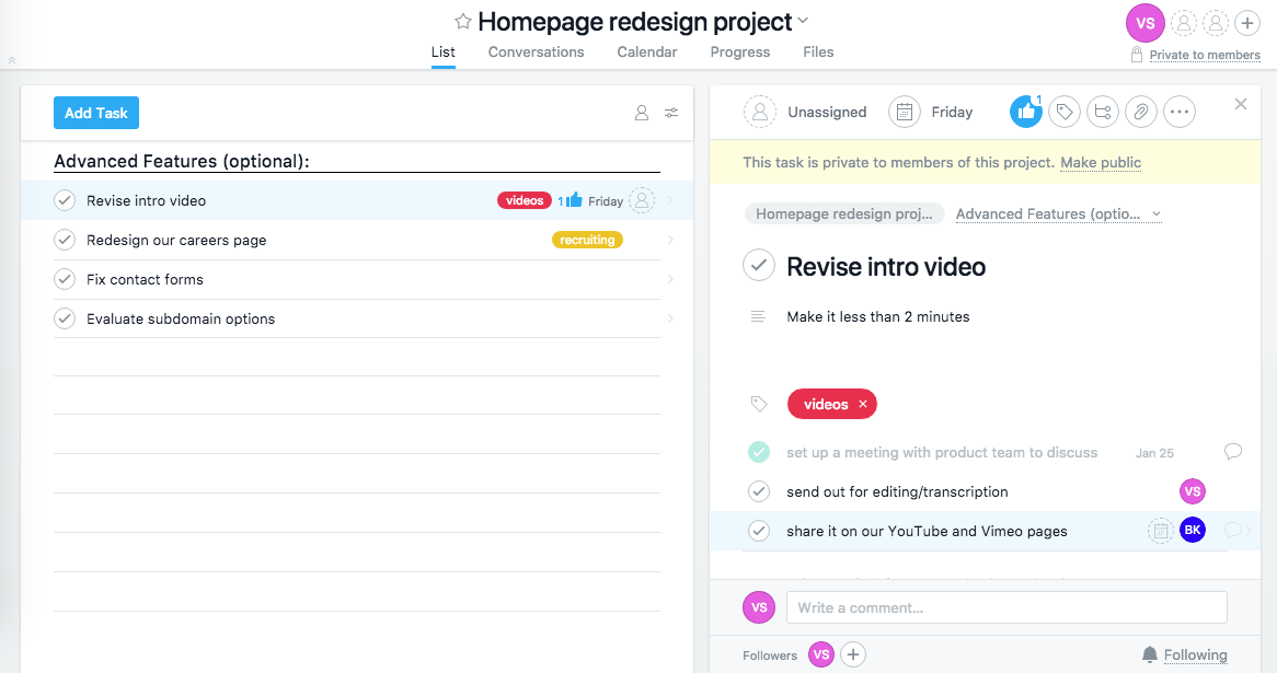 Asana review assignments subtasks