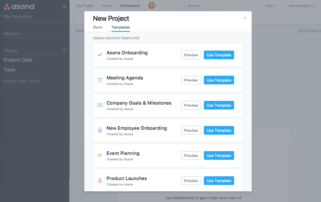 Asana review project templates