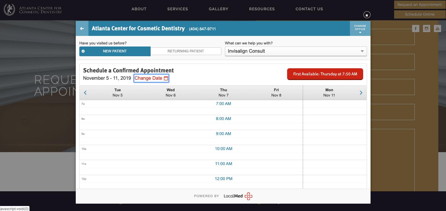 LocalMed online scheduling