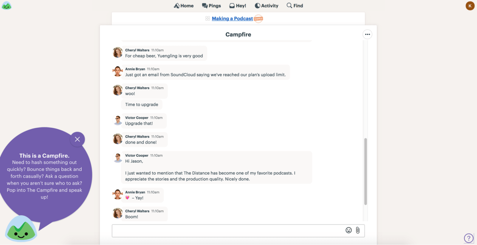 Basecamp Review Campfire Group Chat