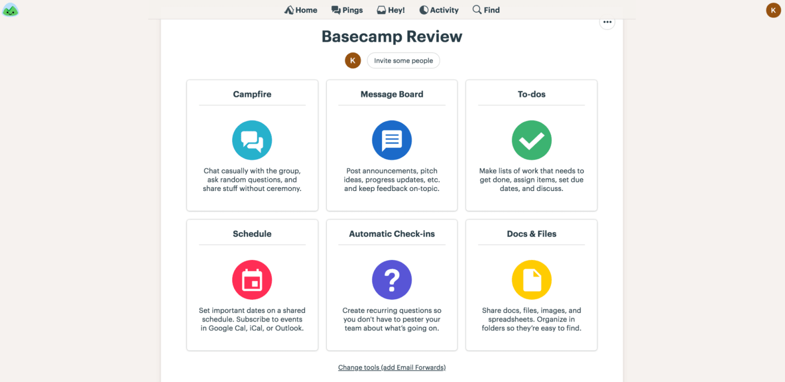 Basecamp Review Project Dashboard