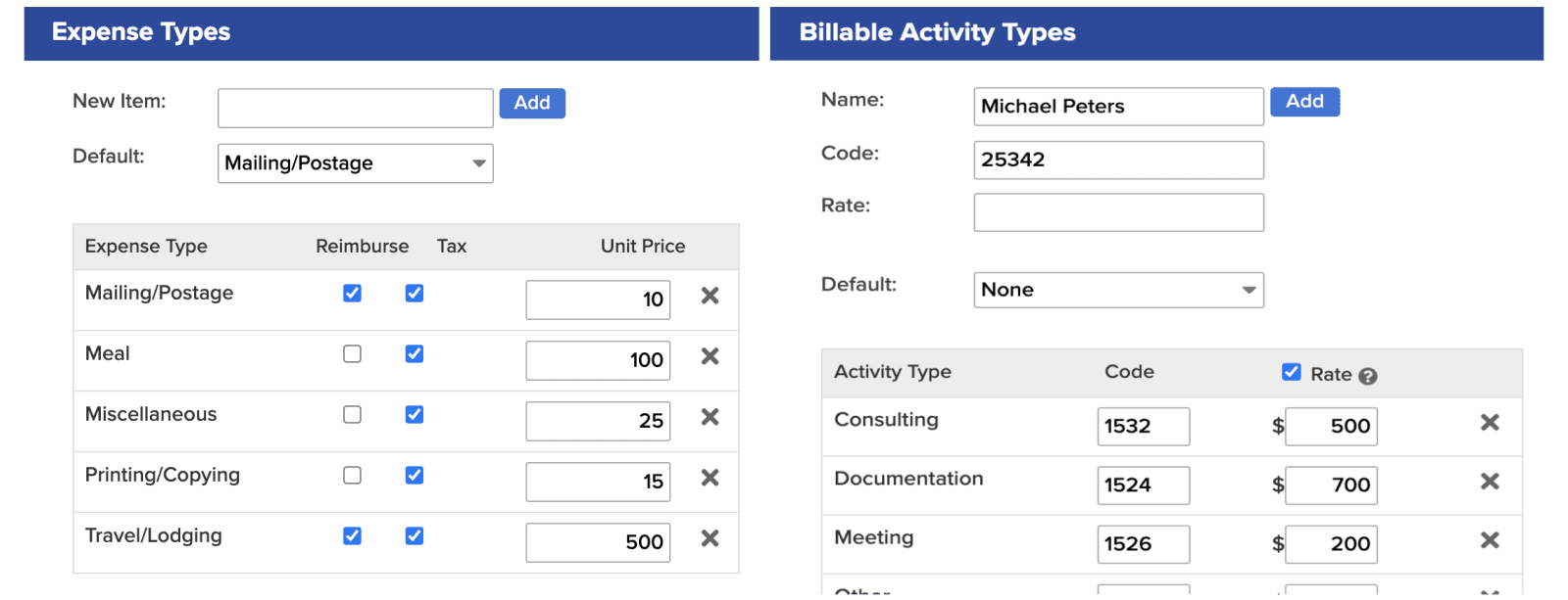 bill4time billable activity and expense type image
