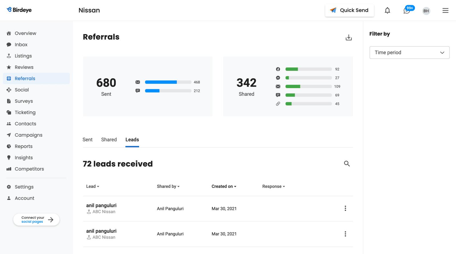 BirdEye referrals tool