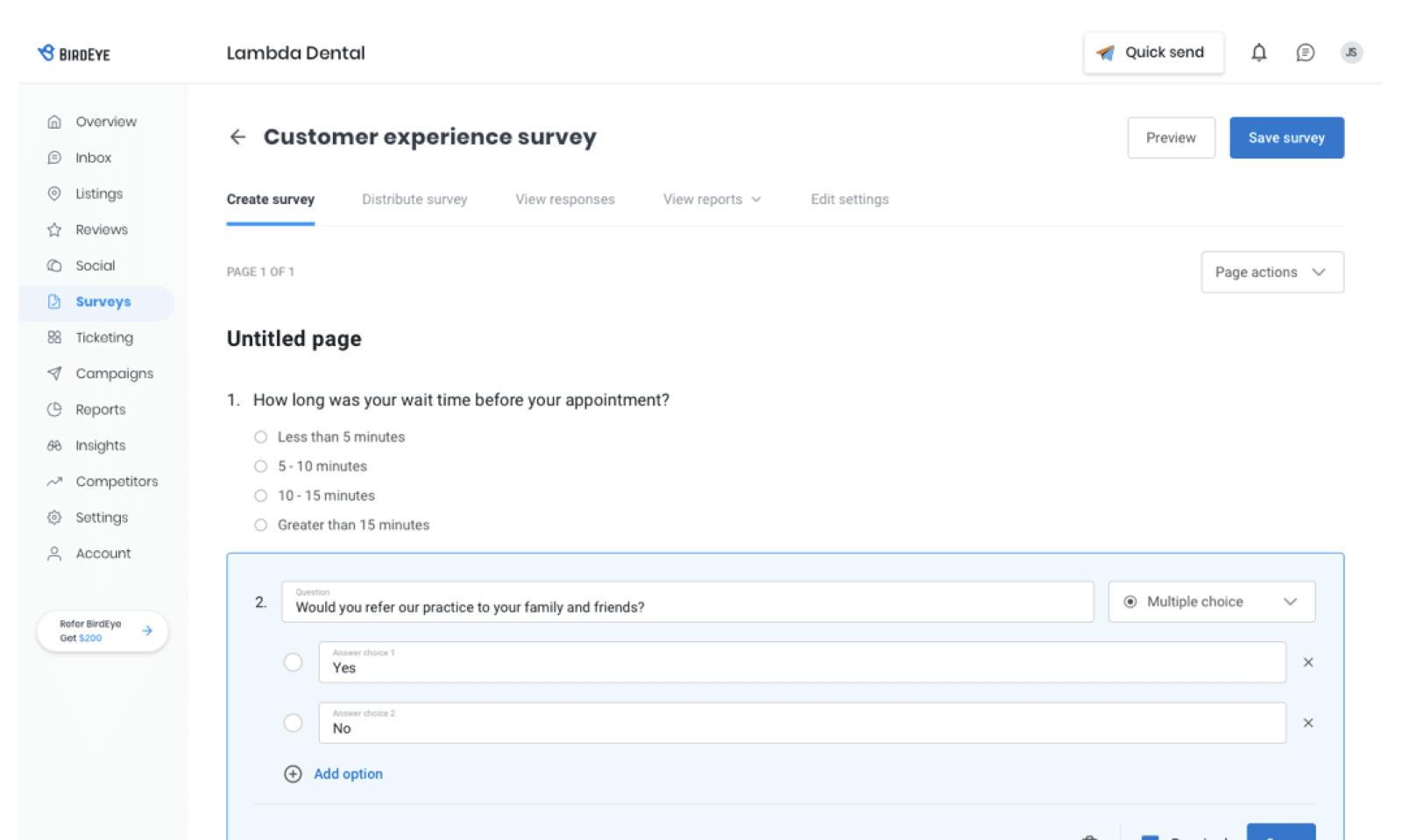 BirdEye Surveys