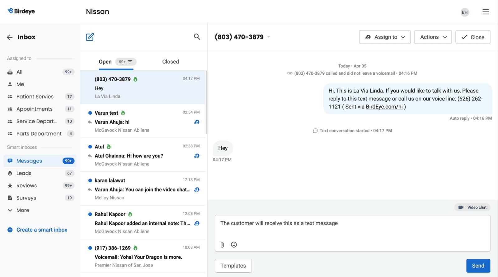 Birdeye unified inbox