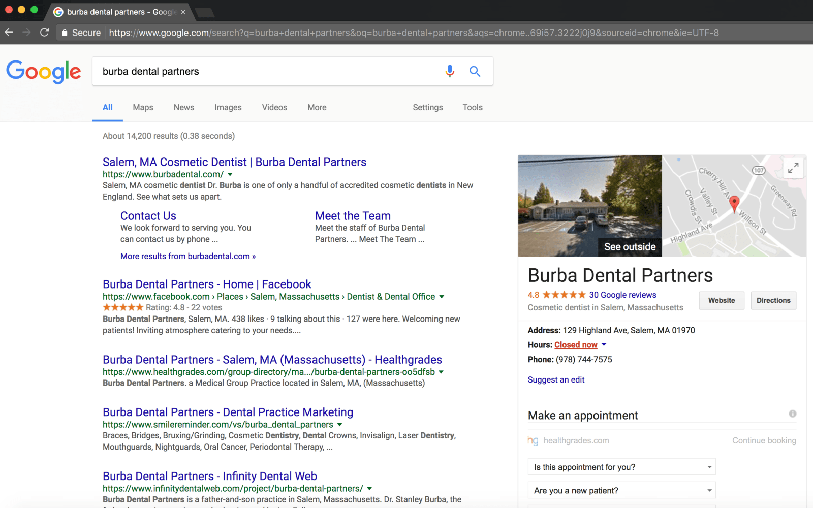 Burba Dental Partners Search Page