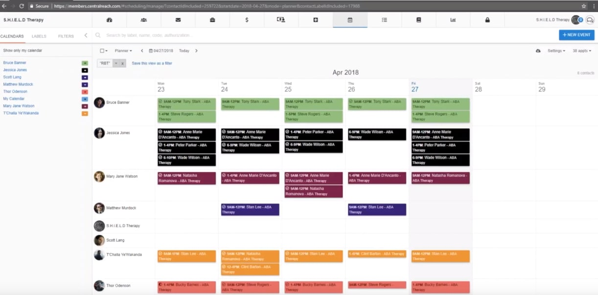 centralreach calendar