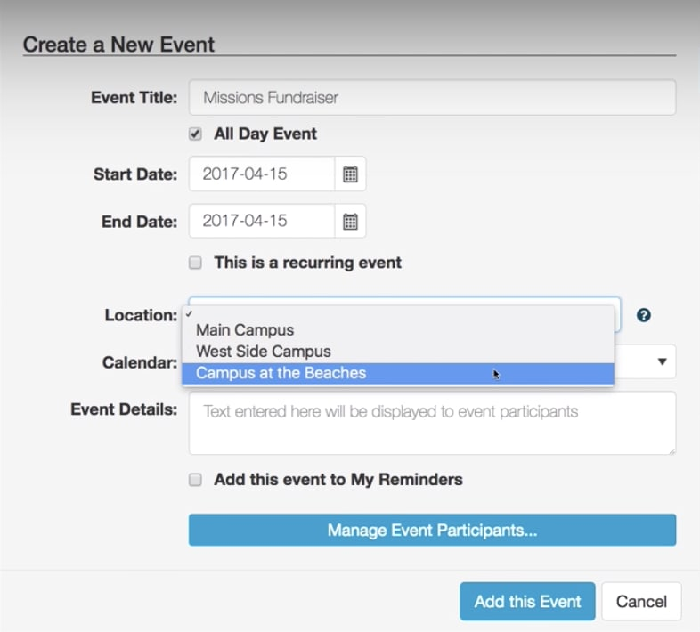 Creating an event in ChurchTrac
