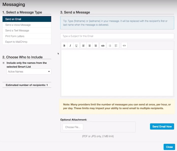 ChurchTrac email builder