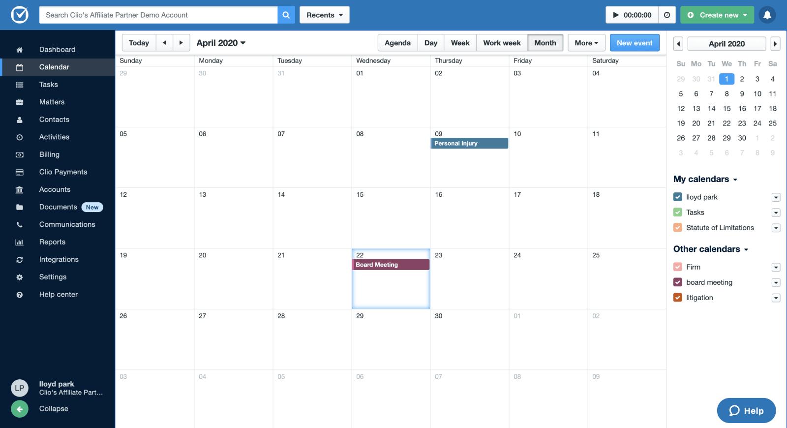 clio manage calendar