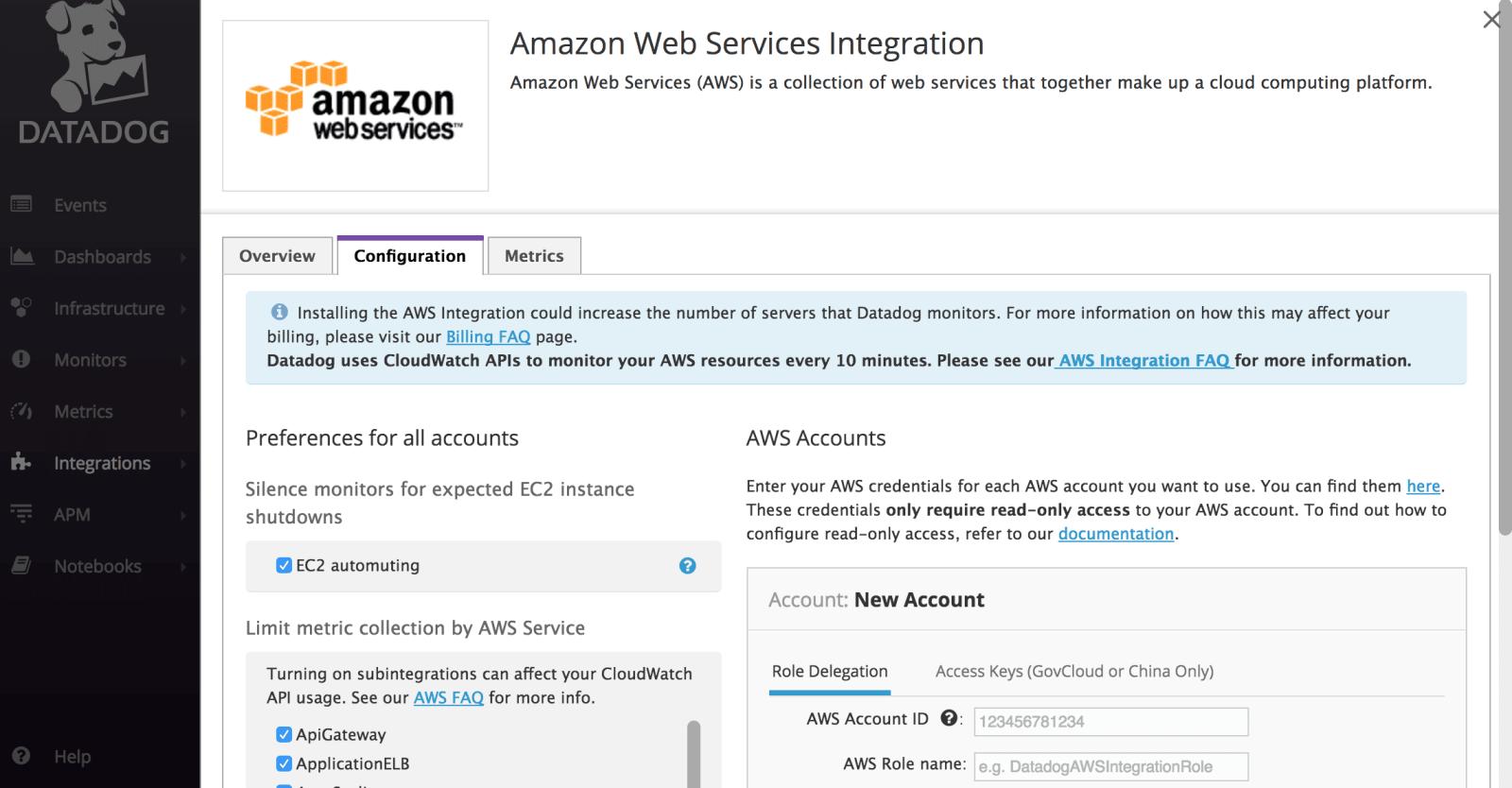 AWS integration in Datadog