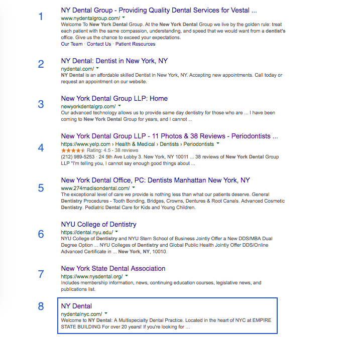 Dental Groupon Google search results - eighth place