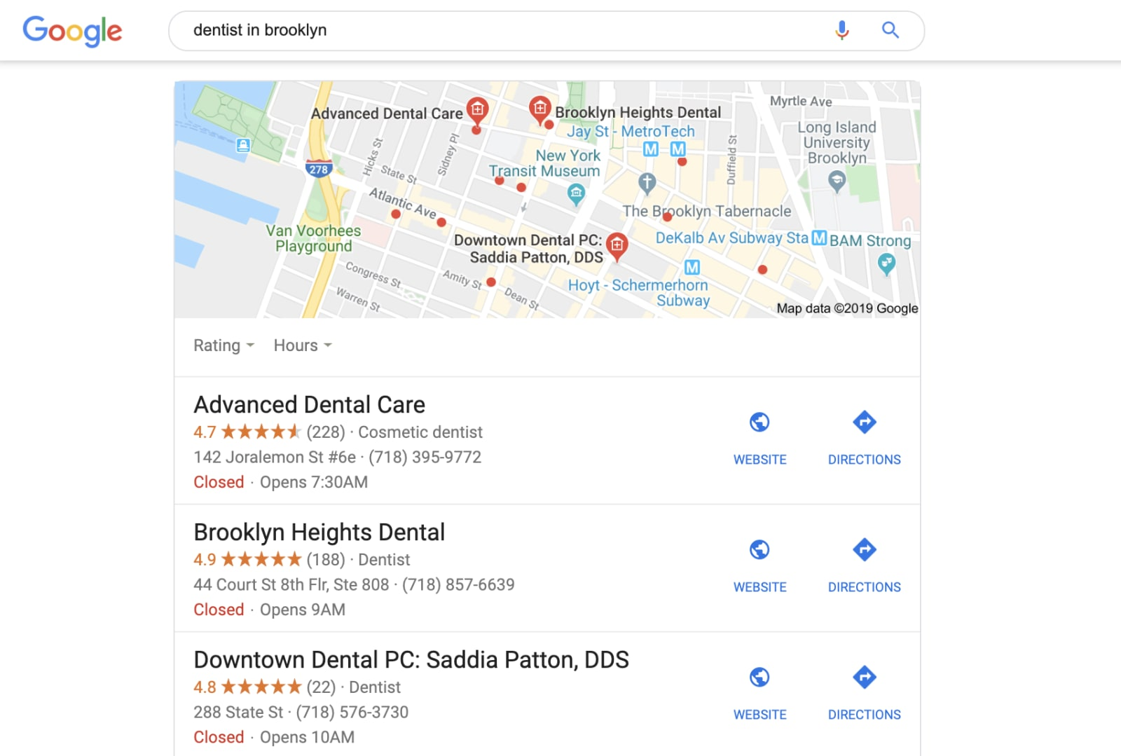 Local Pack of dentists with good reviews
