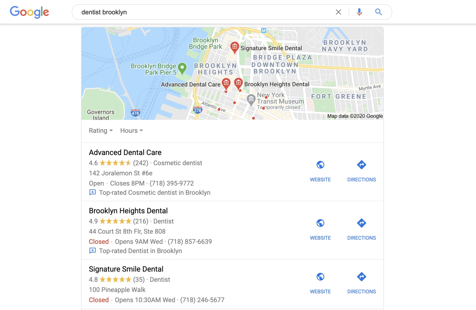 Google search results for dental practice query