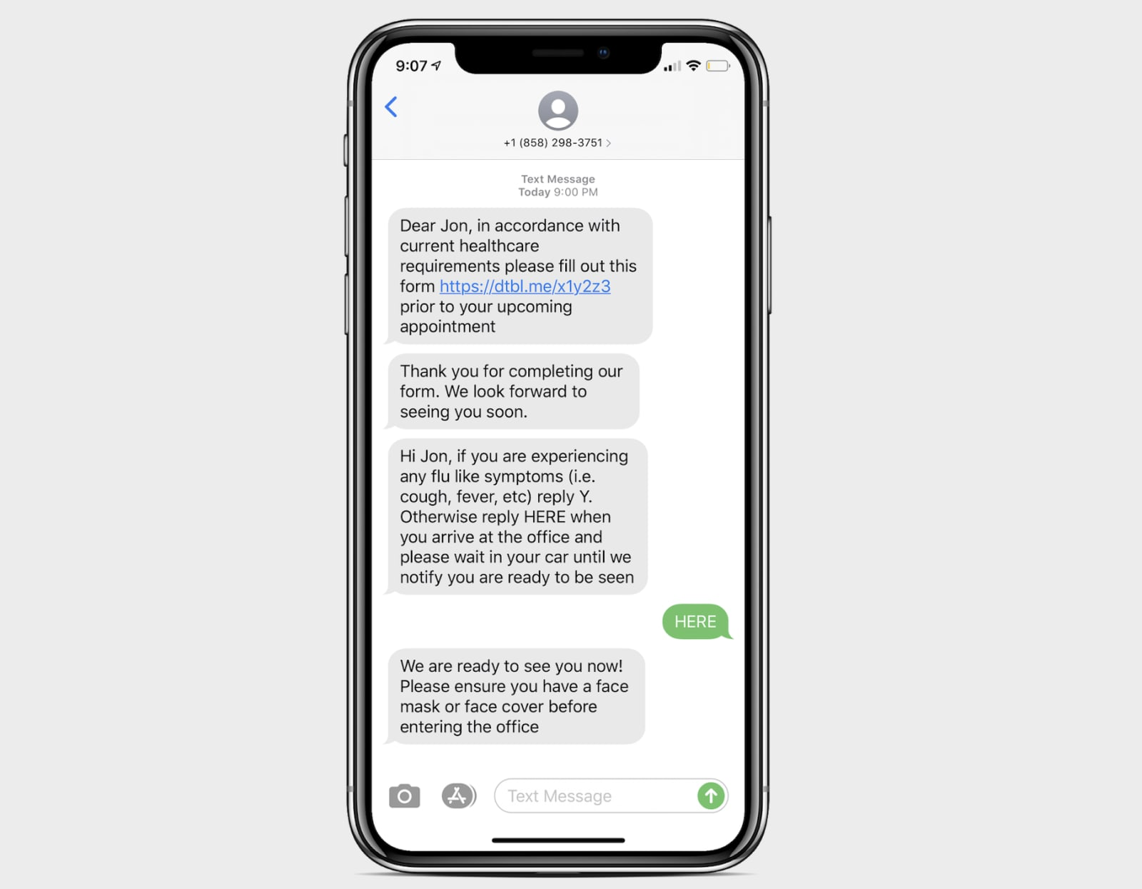 Doctible Virtual Waiting Room Patient Text Messages