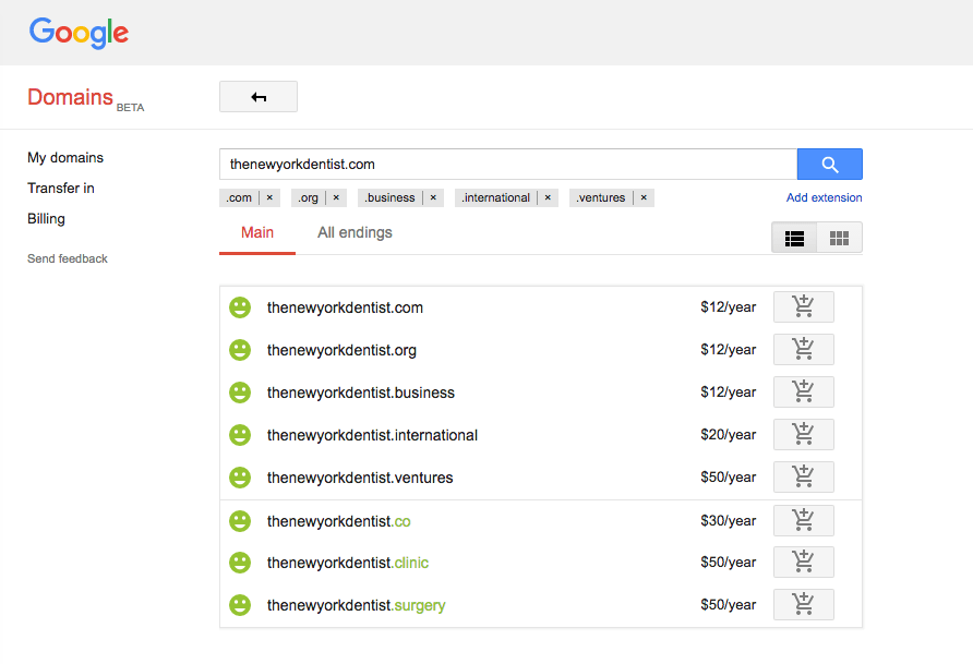 Google Domains prices