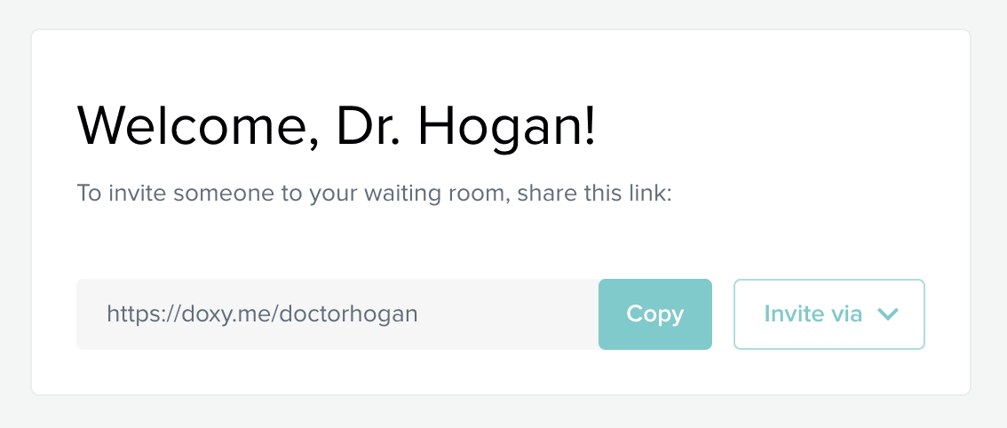 Doxy.me Invite Patients Screenshot