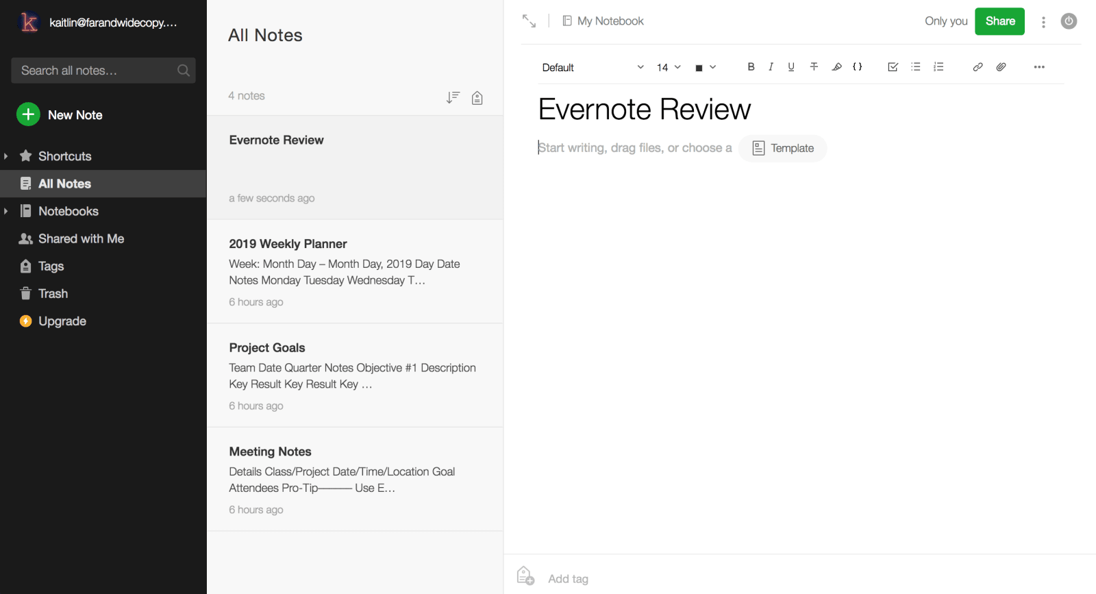 Evernote Review Note Creation