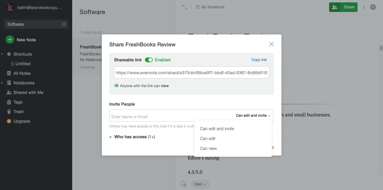 Evernote Review Sharing Notes